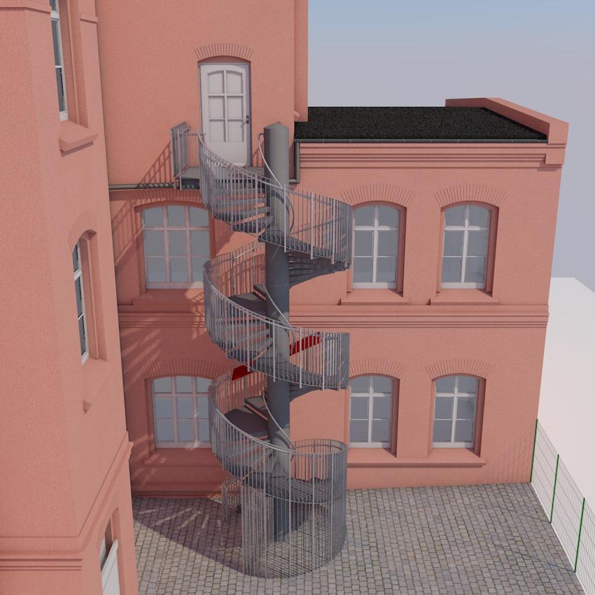 Anbau Treppe am Arbeitsgericht